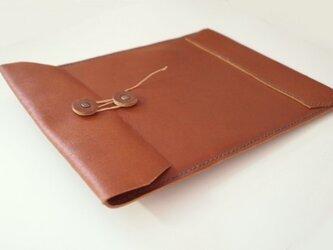 【再販】トスカーナ床革のマニラ封筒 A4ファイル対応 茶革翠糸の画像