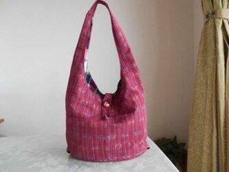 R様ご予約品★茜色の紬のショルダーバッグの画像