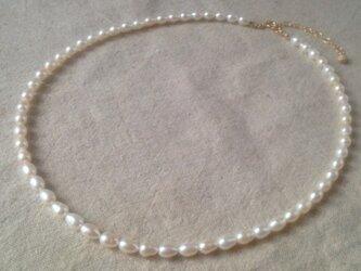 淡水パール(しずく型)の一連ネックレスの画像