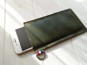 ★柔らか手触りな本革iPhoneケース《モスグリーン》の画像