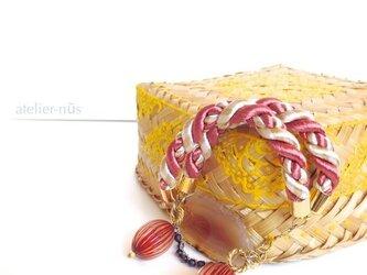 レッド瑪瑙 ツイストロープ ブレスレットの画像