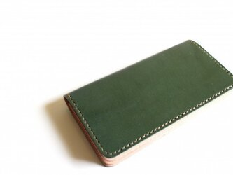 【受注生産品】長財布 ~栃木アニリン緑×栃木サドル~の画像