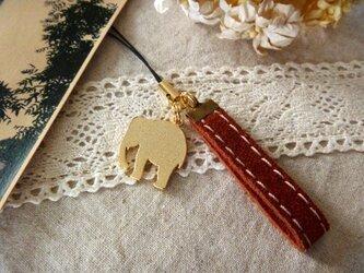 【最終セール☆】かわいいゾウのスウェードストラップ<茶>の画像