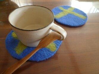 羊毛フェルトのコースター2枚セット(ブルー)の画像