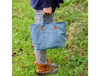 革と帆布のトートバッグS ブルーグレー ※受注生産の画像