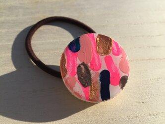 wood hair elastic: pinkの画像