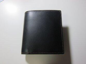 二つ折り財布 コンパクト(黒)の画像