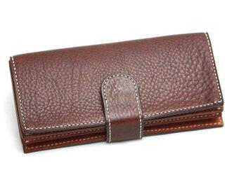 ボタンポケットのゆったり長財布(カラー:Dark Brown)の画像
