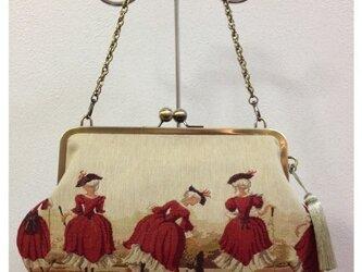 ゴブランがま口バッグ【赤いドレスと黒猫】の画像