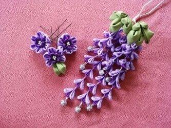 藤の花の二本足かんざしとUピンセットの画像