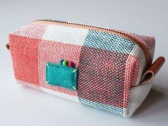 リネン手織り化粧ポーチの画像