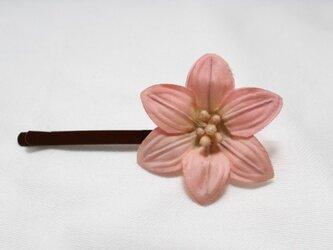 シングルフラワーヘアピン(ピンク)の画像