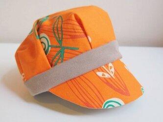リバーシブル キャスケット -北欧花柄オレンジ-の画像