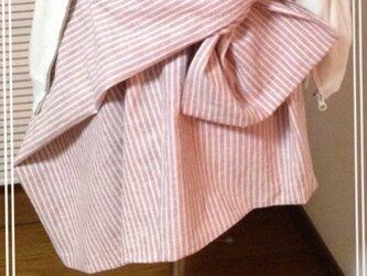ナチュラルリネンストライプのリボンドレープスカートの画像