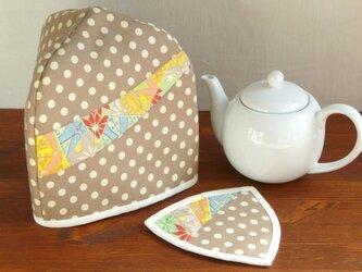 【再販】三角ティーコージーとマットのセット ~小春日和~ 水玉の画像