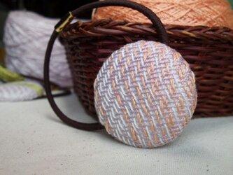 手織り布 ヘアゴム 藤色×オレンジ グラデーションの画像
