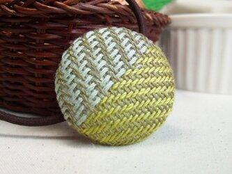 手織り布 ヘアゴム 黄緑×水色の画像