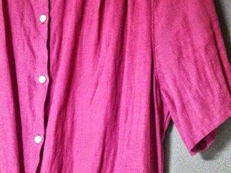 フレンチリネンのシャツワンピースの画像
