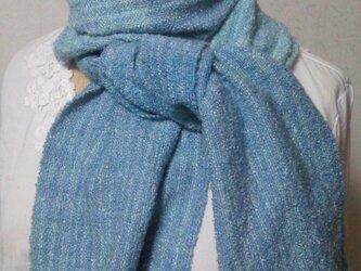草木染め シルク100%手織りストール(青×水色)の画像