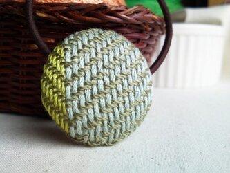 手織り布 ヘアゴム 水色×黄緑の画像