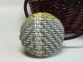 手織り布 ヘアゴム 水色×黄緑×白の画像