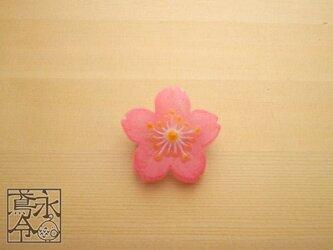 ブローチ 濃いピンク色の桜の画像