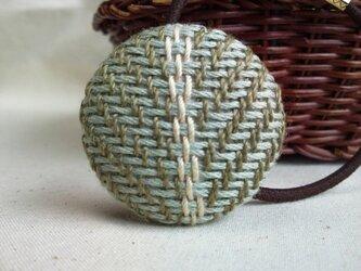手織り布 ヘアゴム 水色×白の画像