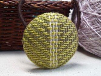 手織り布 ヘアゴム 黄緑×白の画像