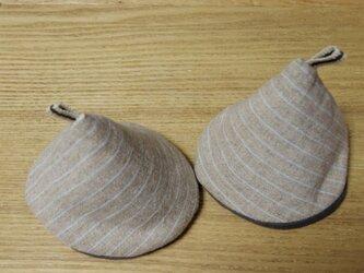 コーン型 ストライプリネンのキッチンミトンの画像