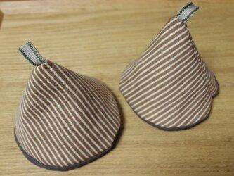 コーン型 ストライプコットンのキッチンミトンの画像