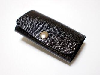 スマートキー対応! 手縫い 牛革製キーケース 黒革桃糸の画像