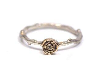 薔薇の指輪(K10,SV,ダイヤ)の画像