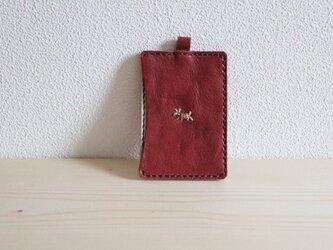 栃木レザー 手縫いパスケース(ワイン)の画像