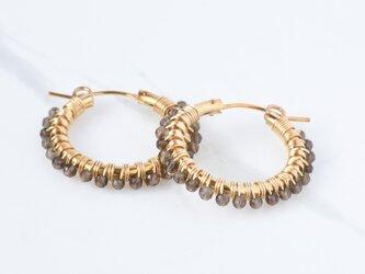 [PE] Smoky quartz《M》Basic Hoop Pierced Earringの画像