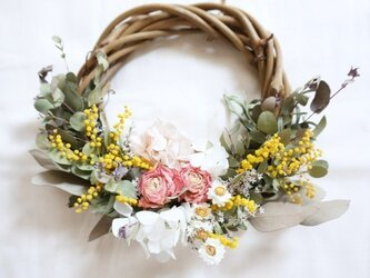 春らしいミモザ ラナンキュラス wreathの画像