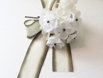 【つまみ細工/正絹】W紫陽花のコサージュの画像