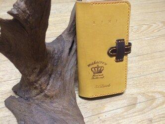 I-phone6 スマホケース 手帳型 オイルレザー(黄色)の画像
