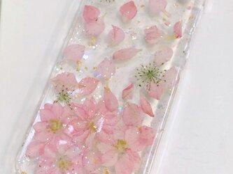 桜風♪春ピンクの押し花スマホカバーの画像