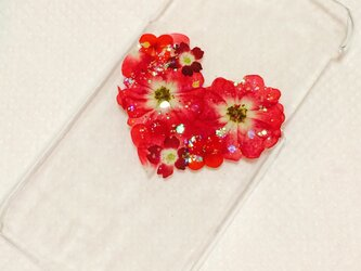 赤いハートの押し花ケース Xperia AQUOS iPhoneの画像