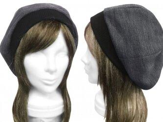 ジャガード織コットンニット/リブ付ベレー帽(ゆったり)◆杢ダークグレーの画像