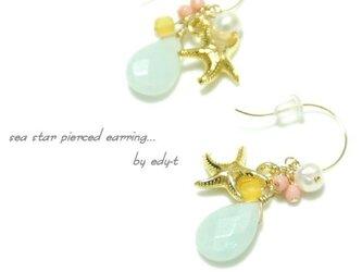 edy-t■天然石のマリン風sea starピアス☆の画像