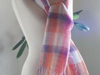 手織りリネンのショールの画像