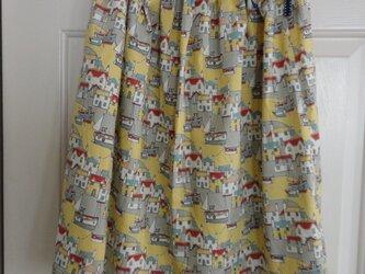 ギャザースカート(リバティ/クールコースト・マスタード色)の画像