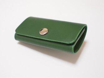 スマートキー対応! 手縫い 牛革製キーケース 緑革碧糸の画像