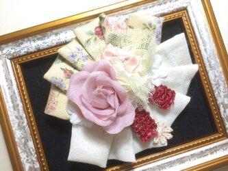ヘアピンブローチ(バラとりぼん)〜シエルライン〜の画像