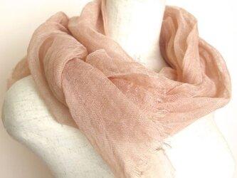 草木染ふんわりリネンガーゼストール サーモンピンク の画像