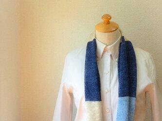 コットンとリネンの機械編みスヌード 藍×Lブルーの画像