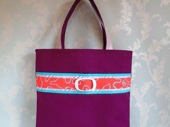 刺繍オレンジベルトの紫のトートバッグ の画像
