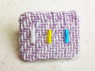 「ビーズミニ1」手織り布 ブローチの画像