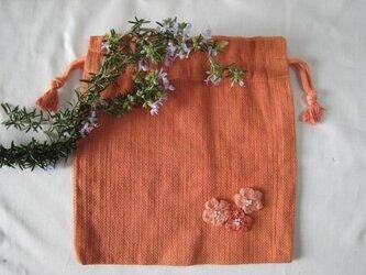 草木染め お花付き巾着(茜)の画像